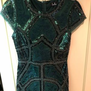 lulus emerald green beaded dress w/ embellishment
